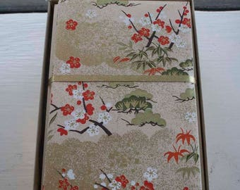 Plum Bamboo Pine Shochikubai Three Friends of Winter Japanese Handmade Washi Boxed Note Card Set