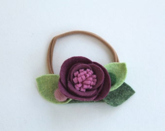 MAUVE// single flower headband// felt flower