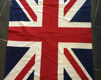 Large Vintage printed cotton Union flag Union jack British made 1940's 1950's