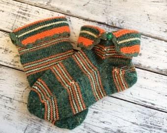Knitted socks Striped slipper socks Wool slipper socks