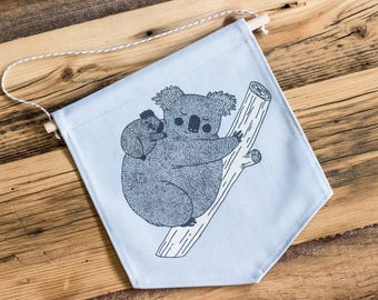 Wall banner 2 colors, koala mother, blue, wall decoration, decoration, gift, baby gift, animal lover, deco