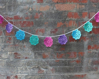 Crochet garland, crochet bunting, nursery decor, room decor, party decoration, baby shower, flower garland, rainbow, ready to ship