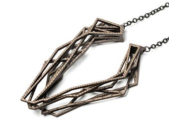 Solitaire necklace, 3D printed steel - bronze plated