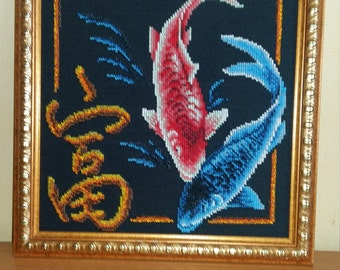 """Embroidered with beads picture """"Koi"""""""