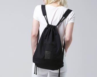 Kerorek Minimalist Black Canvas Drawstring Backpack