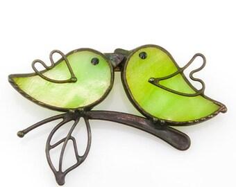 Brooch handmade birds on a branch