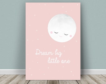 Personalised baby print moon for a girl