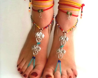 red yellow dragon Barefoot Sandals crochet Barefoot Beach Jewelry barefoot Boho anklet carnaval festival gypsy hippie sandals
