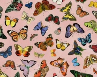 Novelty Cotton Fabric French Butterflies   - SUPER SALE