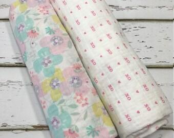 Swaddle Blanket Muslin Swaddle Blanket Gauze Swaddle Blanket Flower Swaddle Blanket Girl Swaddle Blanket Pink Swaddle blanket Girl baby gift