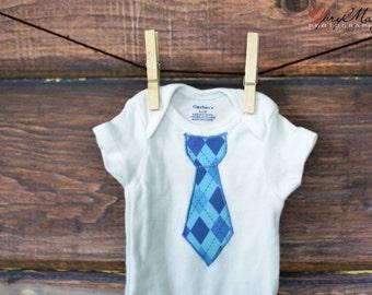 Tie Onesie, baby tie, Argyle Tie Onesie, Ready to ship, Preppy Baby, blue tie, newborn outfit, for baby boy, baby gift, 0-3 month, baby gift