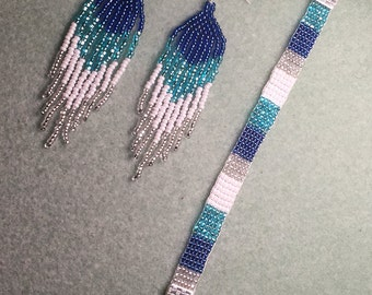 Sea blue fringe earrings and bracelet set