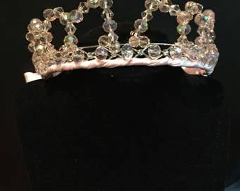Light pink crystal glass beaded tiara