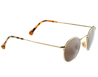 Vintage 90s circle sunglasses, made in USA. 90210 Brendon round frame glasses, gold round eyeglasses, circle sunglasses