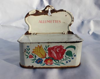 Matchbox metal French vintage allumettes boite flowers country kitchen style
