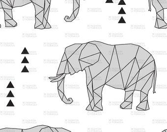 Geometric Elephant Fabric by littlearrowdesigncompany