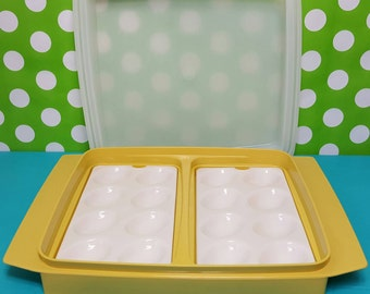 Vintage Tupperware Deviled Egg plastic container with trays and lid, storage, safe, fresh and longer lasting food, 4 pieces