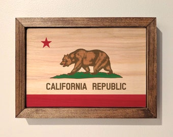 California State Flag Wooden Sign
