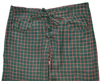 Vintage TARA women pants plaid red green style cotton