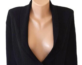 Vintage women cardigan long waistcoat top wool black