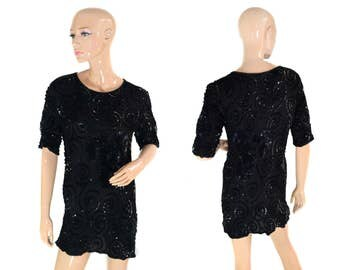 Vintage Ribbel hand made women top blose black reine siede pure SILK sequins