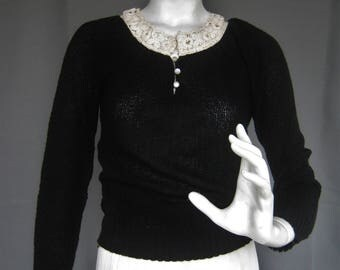 Black Knit Pullover Sweater with White Lace Collar, Vintage 1970s Librarian Chic