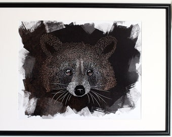 Raccoon - Illustration Art Print - wall - poster - Pictopathe