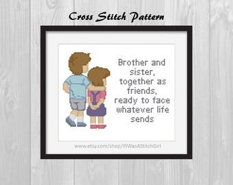 Brother and Sister Cross Stitch Pattern, Big Brother Little Sister Cross Stitch, Sibling Cross Stitch, Brother and Sister Together