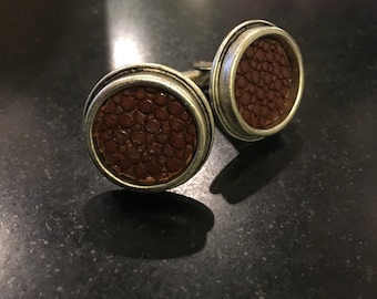 Brown Stingray Skin Leather Antique Silver Circle Cufflinks