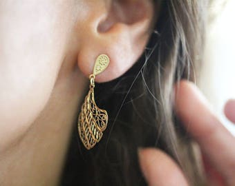 Gold Filigree Lace Earrings