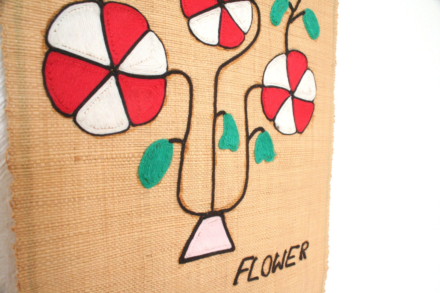 Vintage Floral Wall Art / Flower Wall Hanging / Embroidered Wall Art ...