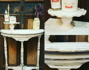 Half Moon Painted Shabby Chic Entry Table