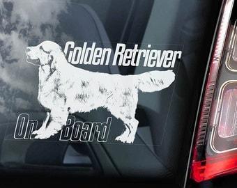 Golden Retriever on Board - Car Window Sticker - Guide Dog Sign Decal -V04