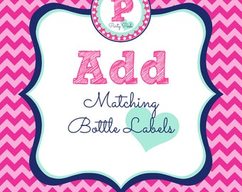 Matching Bottle Labels Add On for Party Posh Prints Water Bottle Labels Drink Wraps