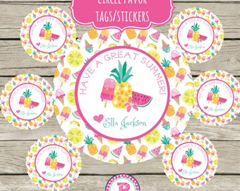 Pineapple Watermelon Popsicle Circle Favor Tags Printable 2 inch Stickers Have a Great Summer Personalized Tutti Fruitti End of School Year