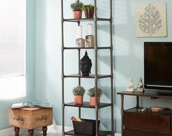 Santara narrow mango wooden bookcase - Walnut stain - Handmade