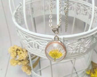 White flower Nature jewelry Glass necklace Silver chain Eco friendly Flower girl Teen jewelry Botanical art Flower ornament Gift for women