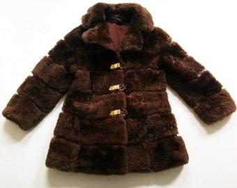 Fake fur CoaT 5-6Y VinTage coat 70s KunstFell RetRo 70s HiPster 80s
