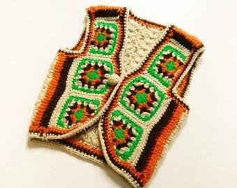 Wool VeSt HiPpie 5-6 Y retro ViNtage chilDren HäkelWeste HandArbeit wool vest 116 HiPster