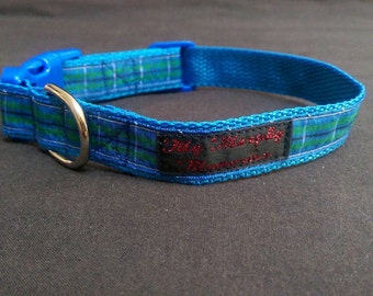 Blue Tartan Boy or Girl Collar Handemade in the UK. Ribbon Stitched to Webbing with a Smart Blue Complimentary Buckle and a Solid D Ring