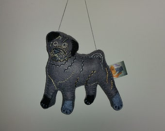 Grey Pug Dog Art Doll