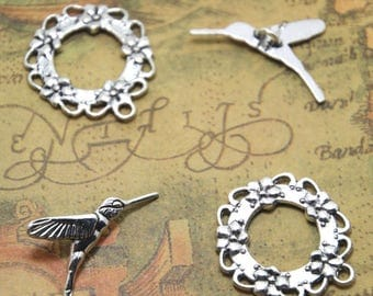 10 sets Silver tone Hummingbird Toggle Clasps ASD1385
