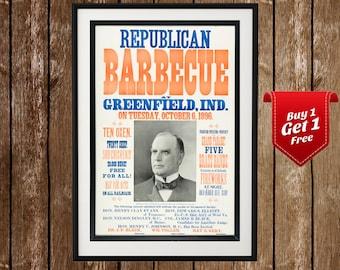 Republican Barbecue - Political Party Print, Republican Poster, Republican Print, Vintage Republicans, Retro Republican, Old Republican