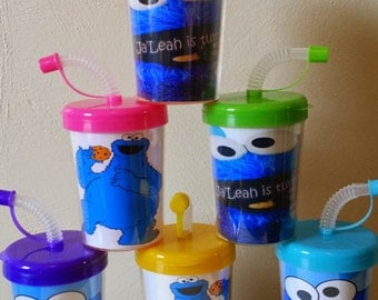 Cookie Monster Sesame Street Party Favor Cups, Cookie Monster Birthday Party Treat Cups Set of 6