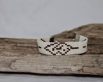 Woven bracelet, cuff of fine pearls of rockery 10/0