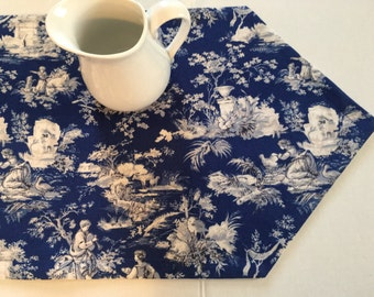 "Toile Table Runner 13""x 44"" Blue and White"