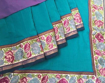 Handcrafted Mangalgiri - Teal with intricate parsi work border