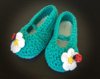 Hand Knitted Baby, Toddler, Girl Slippers, Booties, With Ladybugs, Crib Shoes, Blue, White, Winter Socks, House Shoes