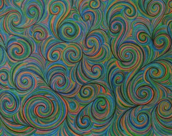 Art, Drawing, Colored Pencil, Abstract, Psychedelic, Blue, Green