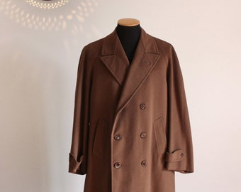 50s men's long double breasted wool coat